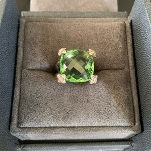 David Yurman Peridot Diamonds Cushion On Point